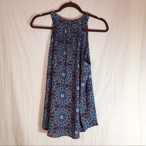Papermoon Tops - Paper Moon Boho Blue and Brown Tank Top